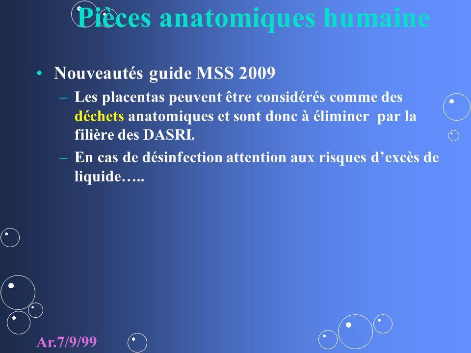 Pièces anatomiques humaine Nouveautés guide MSS 2009 – –Les placentas peuvent être considérés comme des déchets anatomiques et sont donc à éliminer pa