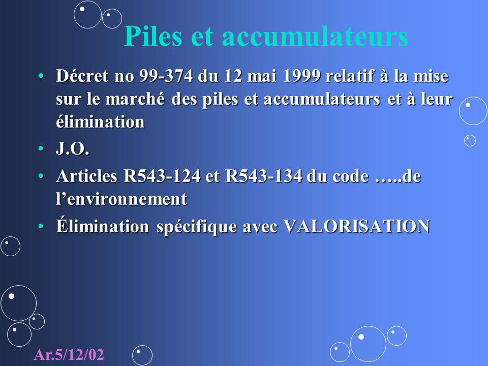 Piles et accumulateurs Décret no 99-374 du 12 mai 1999 relatif à la mise sur le marché des piles et accumulateurs et à leur éliminationDécret no 99-37