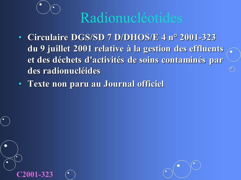 Radionucléotides Circulaire DGS/SD 7 D/DHOS/E 4 n° 2001-323 du 9 juillet 2001 relative à la gestion des effluents et des déchets d'activités de soins