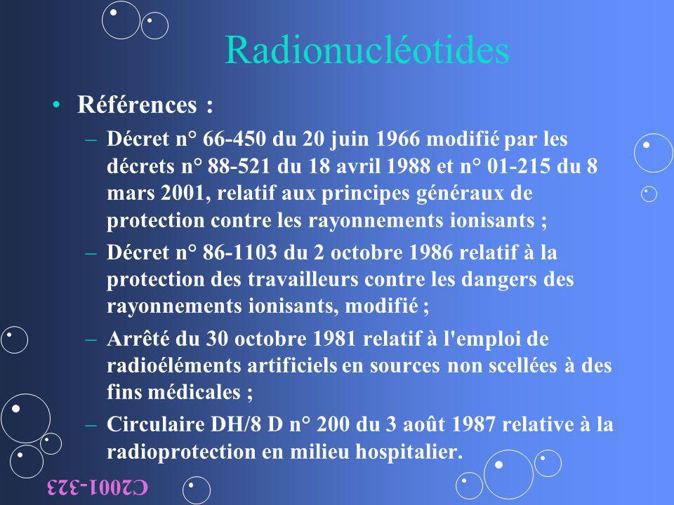 Radionucléotides Références : – –Décret n° 66-450 du 20 juin 1966 modifié par les décrets n° 88-521 du 18 avril 1988 et n° 01-215 du 8 mars 2001, rela