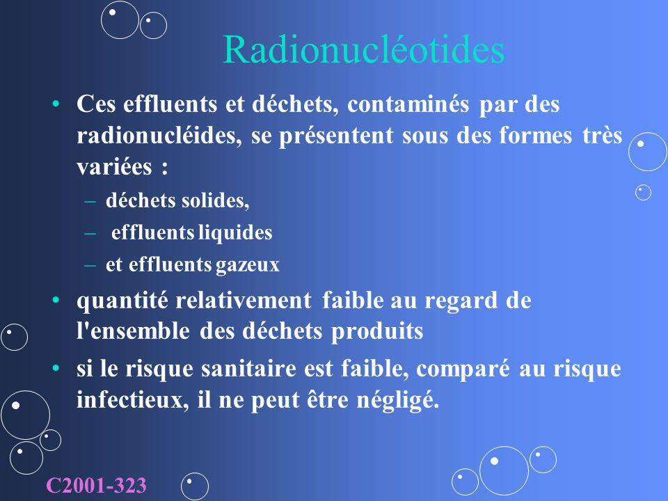 Radionucléotides Ces effluents et déchets, contaminés par des radionucléides, se présentent sous des formes très variées : – –déchets solides, – – eff