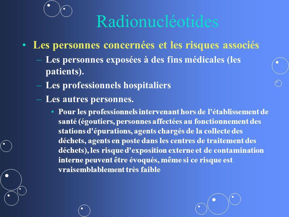 Radionucléotides Les personnes concernées et les risques associés – –Les personnes exposées à des fins médicales (les patients). – –Les professionnels