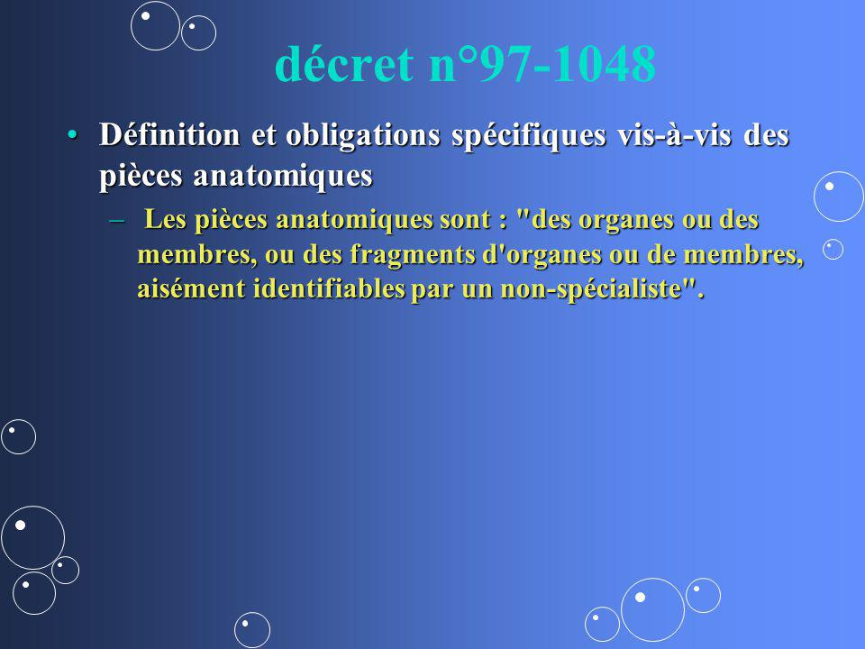 décret n°97-1048 Définition et obligations spécifiques vis-à-vis des pièces anatomiquesDéfinition et obligations spécifiques vis-à-vis des pièces anat