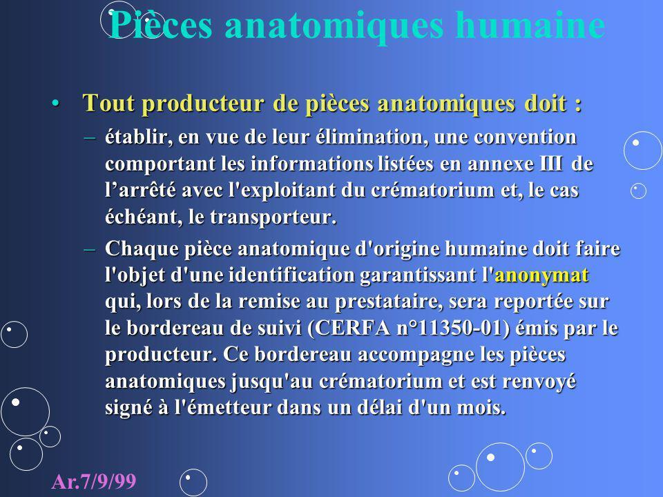Pièces anatomiques humaine Tout producteur de pièces anatomiques doit : Tout producteur de pièces anatomiques doit : –établir, en vue de leur éliminat