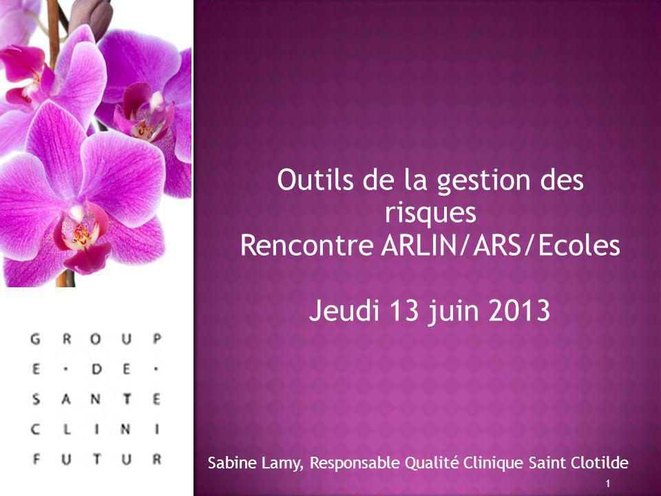 Outils de la gestion des risques Rencontre ARLIN/ARS/Ecoles Jeudi 13 juin 2013 1 Sabine Lamy, Responsable Qualité Clinique Saint Clotilde