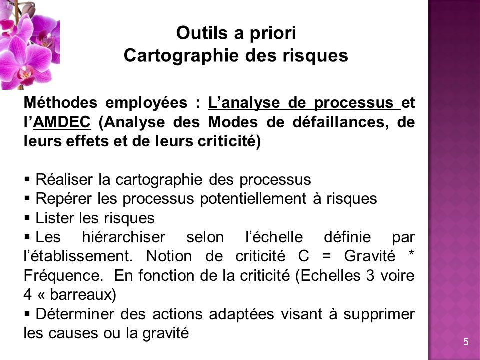 Outils a priori Cartographie des risques Méthodes employées : Lanalyse de processus et lAMDEC (Analyse des Modes de défaillances, de leurs effets et d
