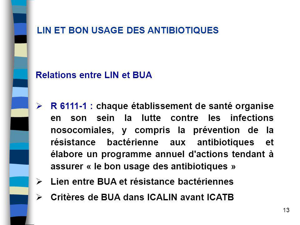 13 LIN ET BON USAGE DES ANTIBIOTIQUES Relations entre LIN et BUA R 6111-1 : chaque établissement de santé organise en son sein la lutte contre les infections nosocomiales, y compris la prévention de la résistance bactérienne aux antibiotiques et élabore un programme annuel d actions tendant à assurer « le bon usage des antibiotiques » Lien entre BUA et résistance bactériennes Critères de BUA dans ICALIN avant ICATB