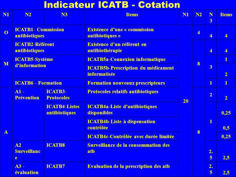 N1N2N3ItemsN1N2N3N3 Items O ICATB1- Commission antibiotiques Existence dune « commission antibiotiques » 20 4 44 M ICATB2-Référent antibiotiques Existence dun référent en antibiothérapie 8 44 ICATB5-Système d information ICATB5a-Connexion informatique 3 1 ICATB5b-Prescription du médicament informatisée 2 ICATB6 - Formation Formation nouveaux prescripteurs 1 1 A A1 - Prévention ICATB3- Protocoles Protocoles relatifs antibiotiques 8 2 2 ICATB4-Listes antibiotiques ICATB4a-Liste d antibiotiques disponibles 1 0,25 ICATB4b-Liste à dispensation contrôlée 0,5 ICATB4c-Contrôlée avec durée limitée 0,25 A2 Surveillanc e ICATB8Surveillance de la consommation des atb 2.