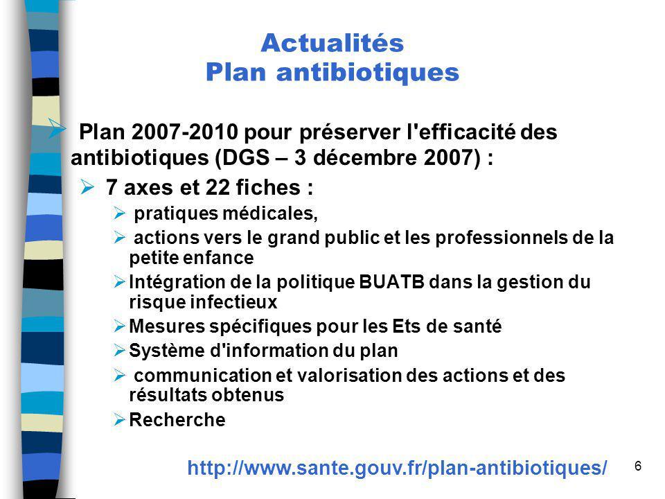 6 Plan 2007-2010 pour préserver l'efficacité des antibiotiques (DGS – 3 décembre 2007) : 7 axes et 22 fiches : pratiques médicales, actions vers le gr