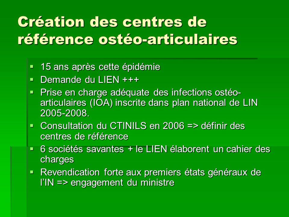 Création des centres de référence ostéo-articulaires 15 ans après cette épidémie 15 ans après cette épidémie Demande du LIEN +++ Demande du LIEN +++ P