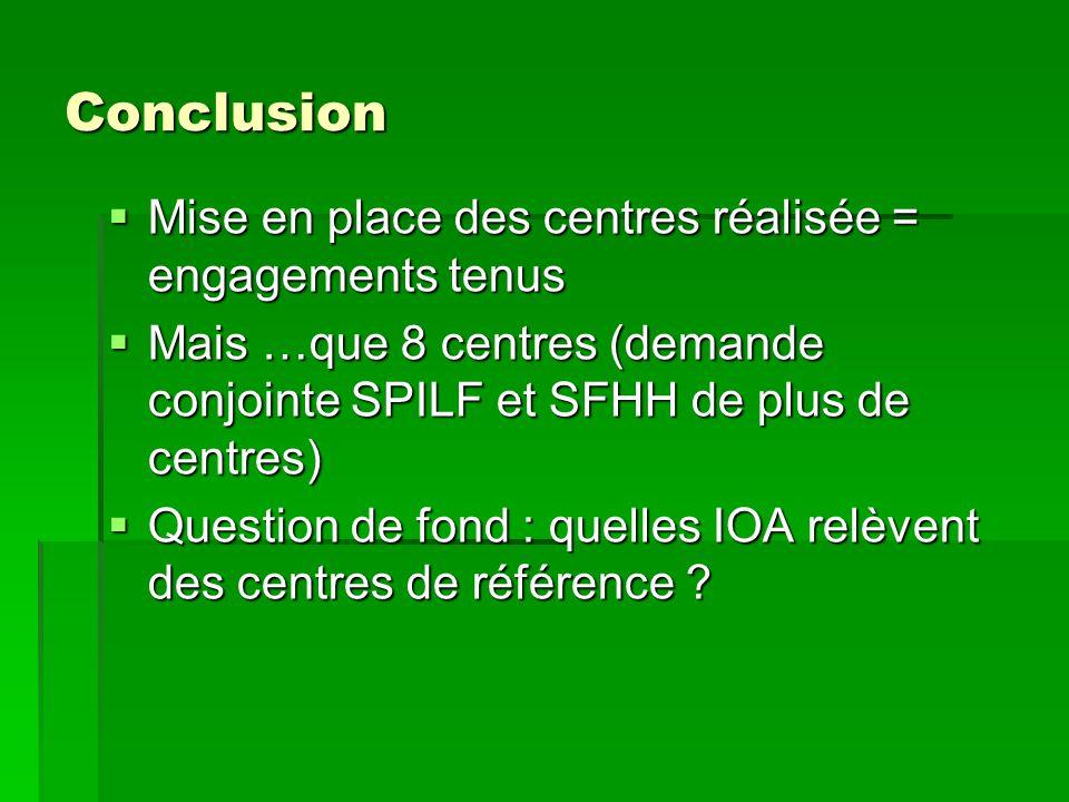 Conclusion Mise en place des centres réalisée = engagements tenus Mise en place des centres réalisée = engagements tenus Mais …que 8 centres (demande