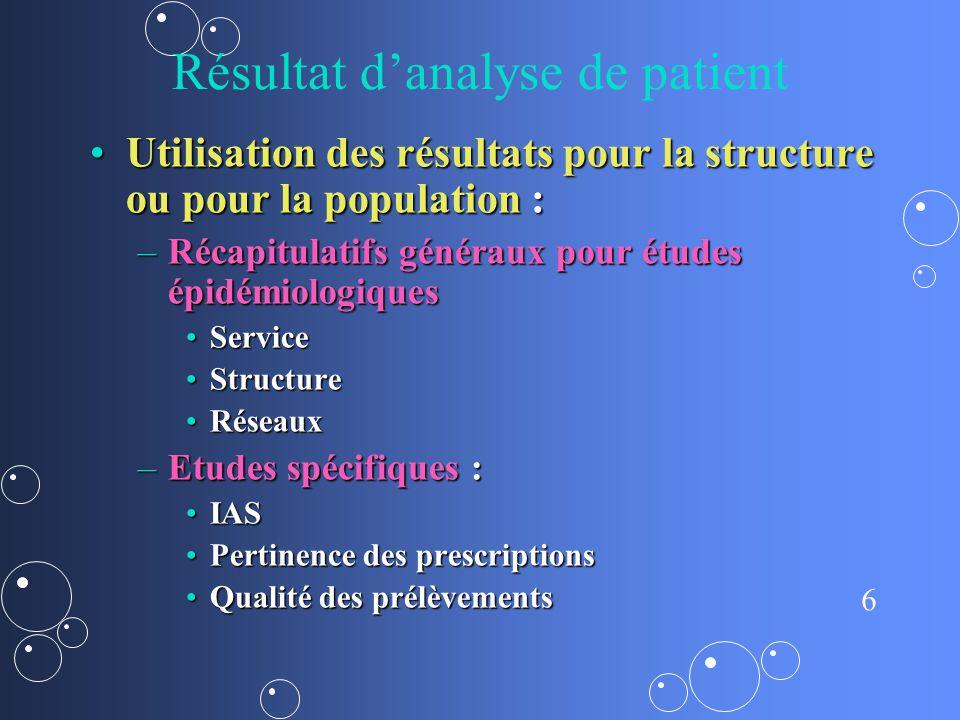 7 Résultat danalyse de patient Variable en fonction des choix et des moyens des structuresVariable en fonction des choix et des moyens des structures –Méthodologie précise et explicitée.