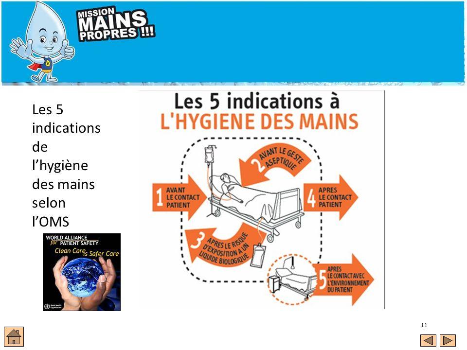 11 Les 5 indications de lhygiène des mains selon lOMS