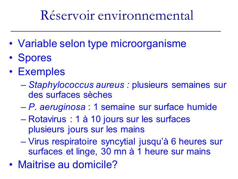 Variable selon type microorganisme Spores Exemples –Staphylococcus aureus : plusieurs semaines sur des surfaces sèches –P.
