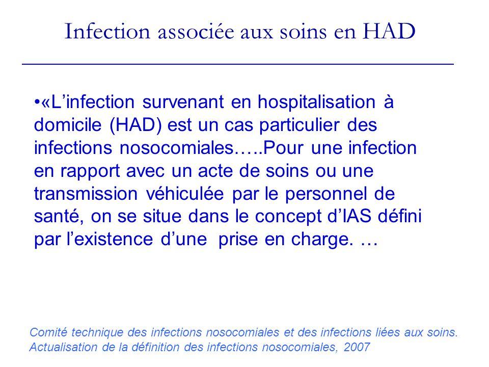 Infection associée aux soins en HAD «Linfection survenant en hospitalisation à domicile (HAD) est un cas particulier des infections nosocomiales…..Pour une infection en rapport avec un acte de soins ou une transmission véhiculée par le personnel de santé, on se situe dans le concept dIAS défini par lexistence dune prise en charge.