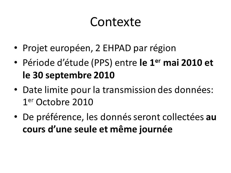 Contexte Projet européen, 2 EHPAD par région Période détude (PPS) entre le 1 er mai 2010 et le 30 septembre 2010 Date limite pour la transmission des