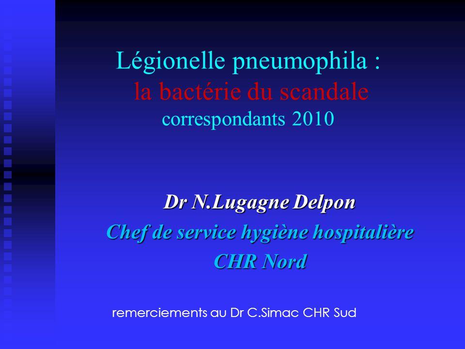 Légionelle pneumophila : la bactérie du scandale correspondants 2010 Dr N.Lugagne Delpon Chef de service hygiène hospitalière CHR Nord remerciements a