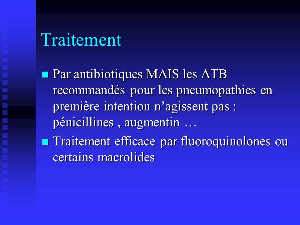 Traitement Par antibiotiques MAIS les ATB recommandés pour les pneumopathies en première intention nagissent pas : pénicillines, augmentin … Par antibiotiques MAIS les ATB recommandés pour les pneumopathies en première intention nagissent pas : pénicillines, augmentin … Traitement efficace par fluoroquinolones ou certains macrolides Traitement efficace par fluoroquinolones ou certains macrolides