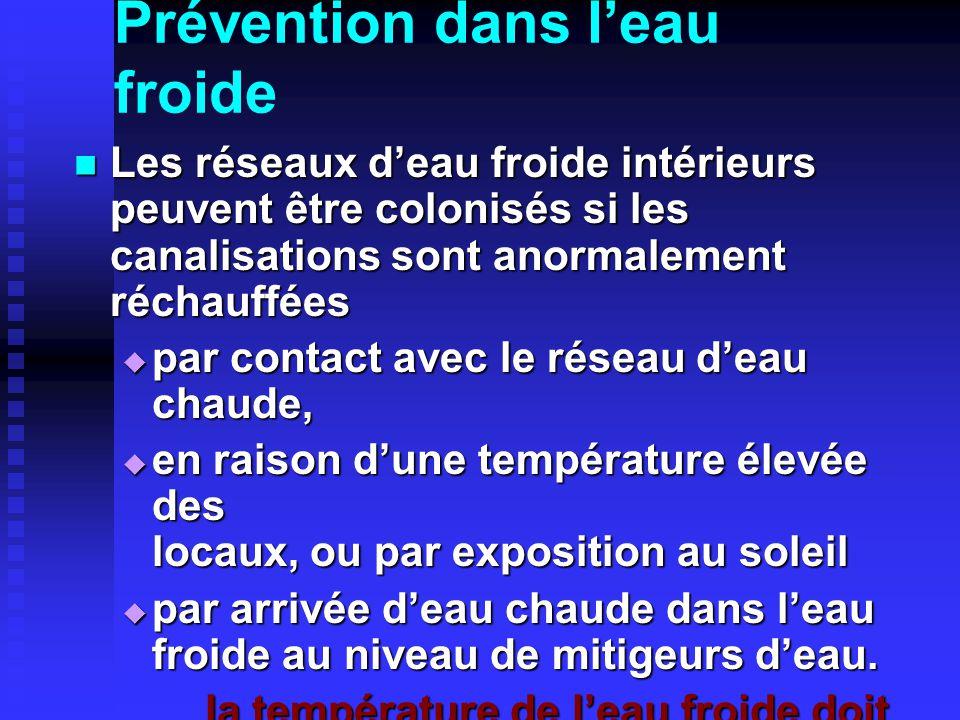 Prévention dans leau froide Les réseaux deau froide intérieurs peuvent être colonisés si les canalisations sont anormalement réchauffées Les réseaux d