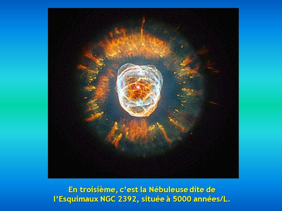 En second lieu, la fabuleuse Nébuleuse Mz3, appelée aussi Nébuleuse de la Fourmi à cause de son apparence à la vue des téléscopes, elle est entre 3000 et 6000 années/lumière.
