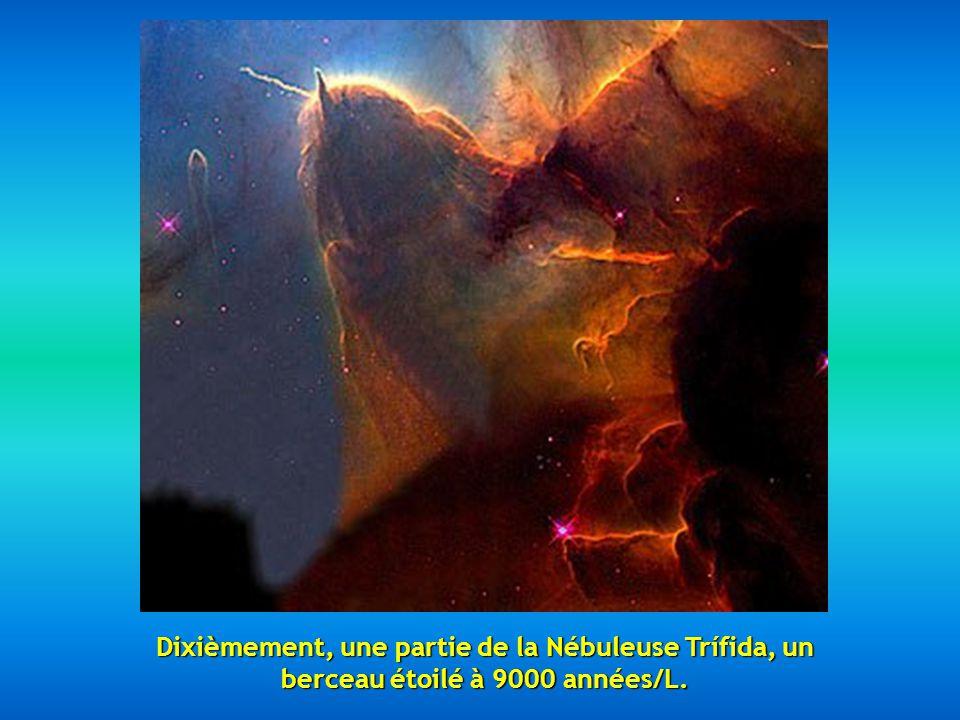 Neuvièmement, 2 galaxies en engrenage la NGC 2207 et la IC 2163 situées à quelques 114 millions dannées/L.