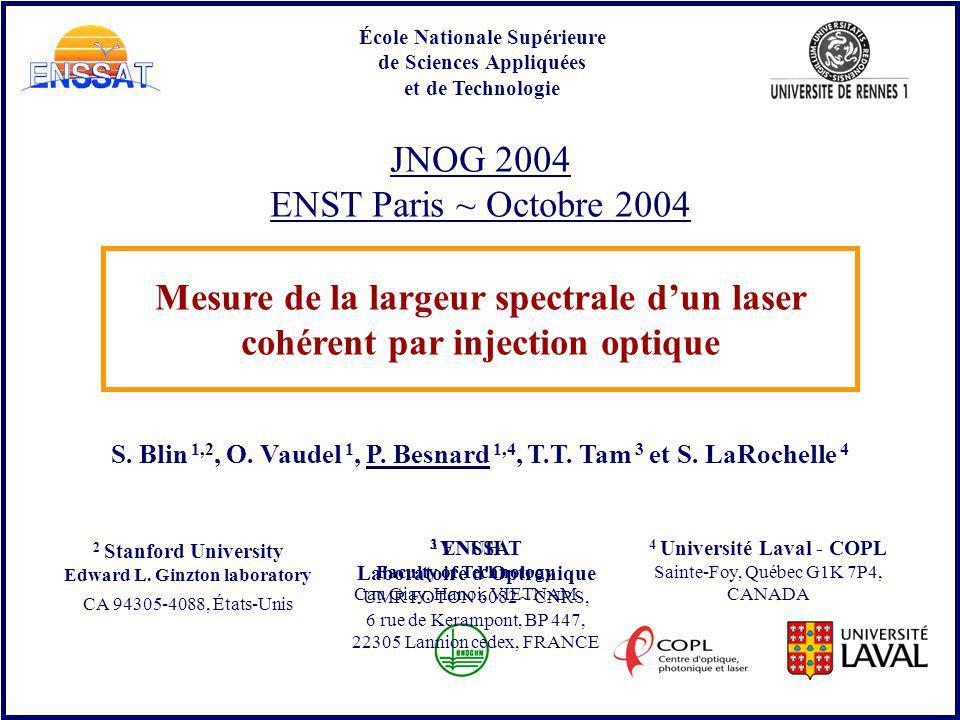 JNOG 2004 ENST Paris ~ Octobre 2004 S. Blin 1,2, O. Vaudel 1, P. Besnard 1,4, T.T. Tam 3 et S. LaRochelle 4 École Nationale Supérieure de Sciences App