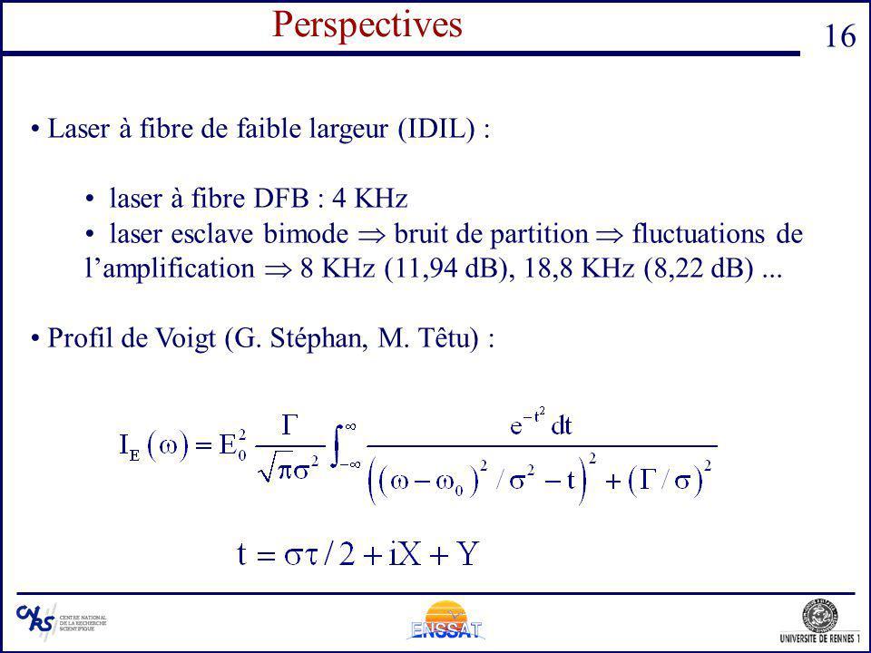 16 Perspectives Laser à fibre de faible largeur (IDIL) : laser à fibre DFB : 4 KHz laser esclave bimode bruit de partition fluctuations de lamplificat