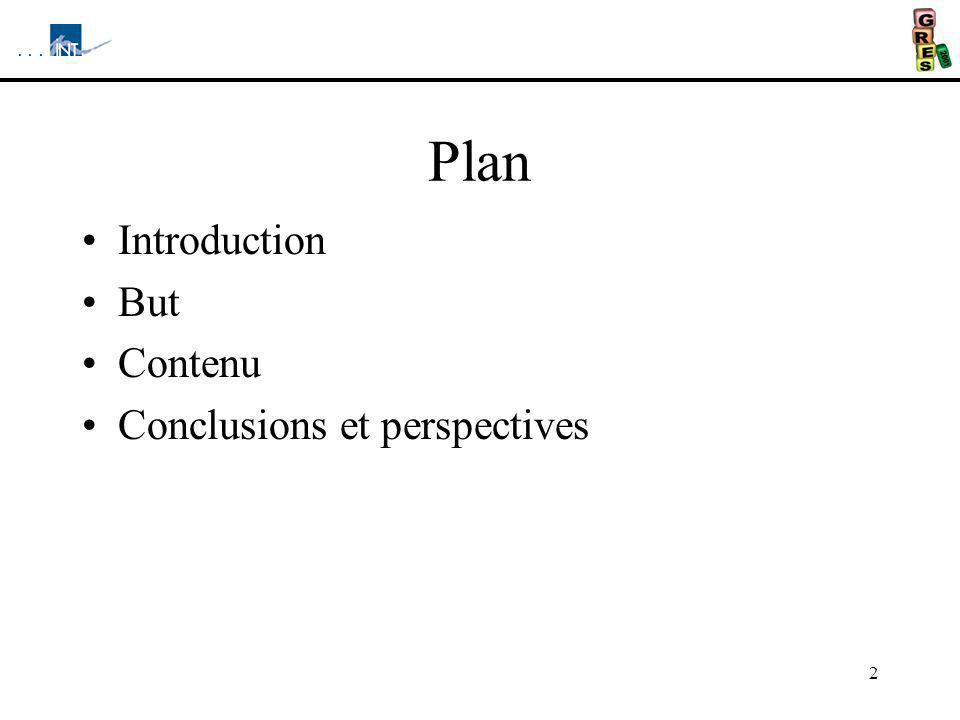 2 Plan Introduction But Contenu Conclusions et perspectives