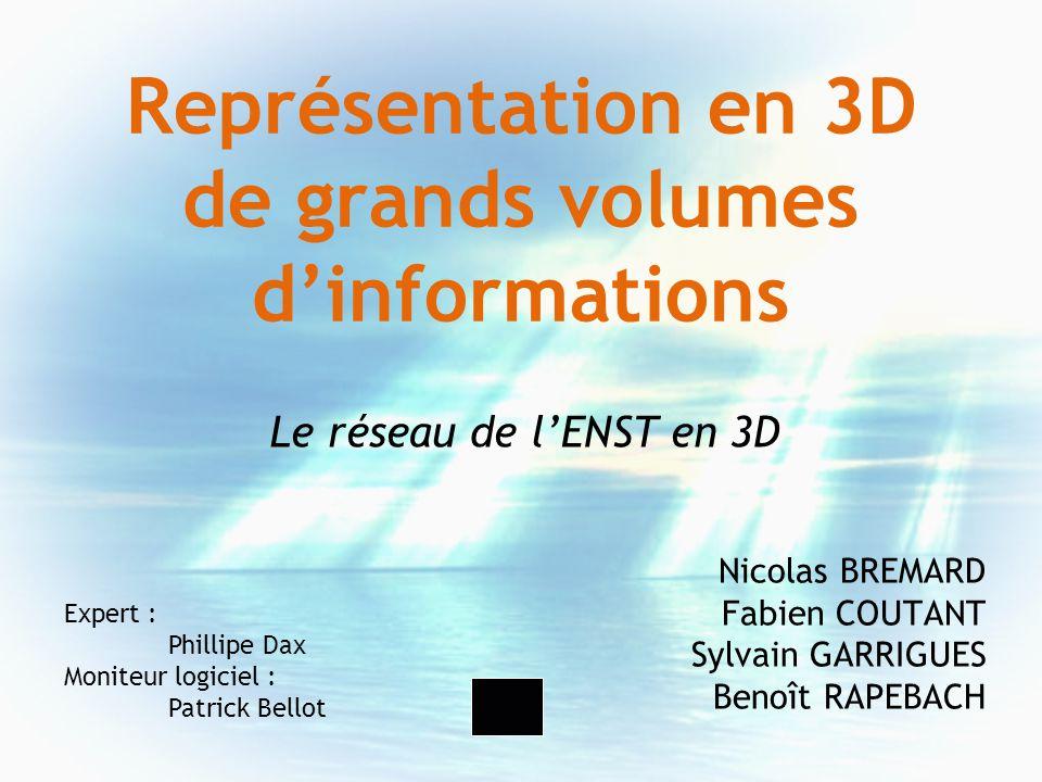 Représentation en 3D de grands volumes dinformations Nicolas BREMARD Fabien COUTANT Sylvain GARRIGUES Benoît RAPEBACH Expert : Phillipe Dax Moniteur l