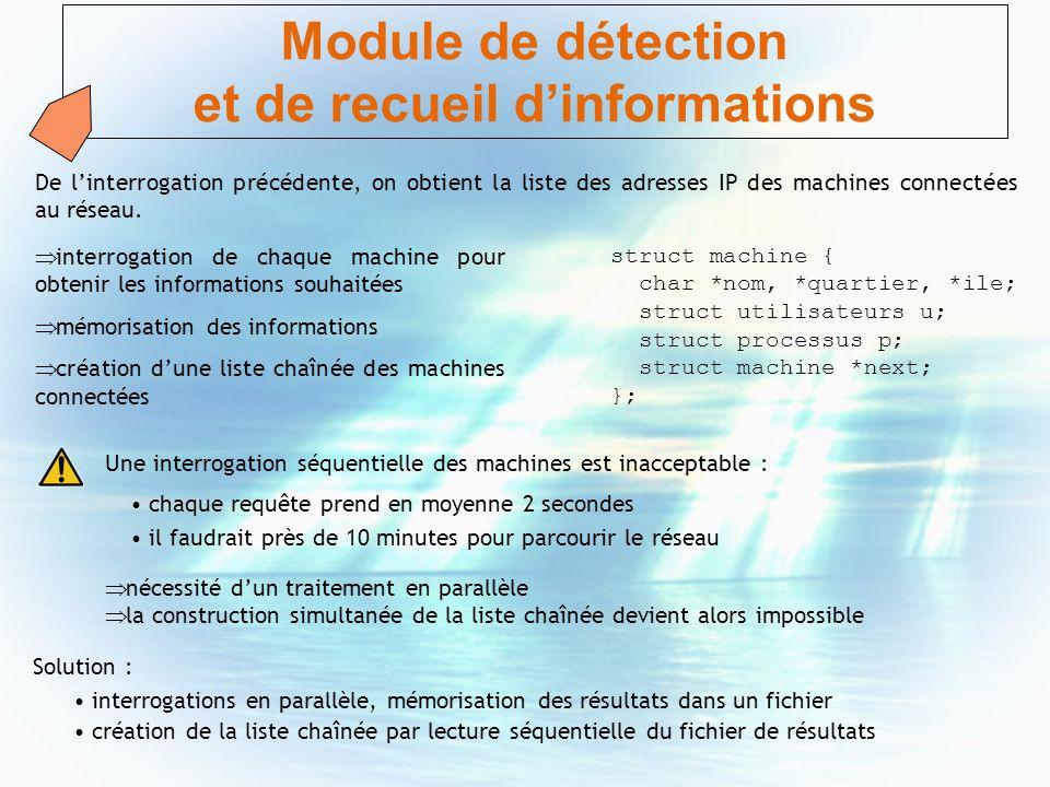 Module de détection et de recueil dinformations De linterrogation précédente, on obtient la liste des adresses IP des machines connectées au réseau. n