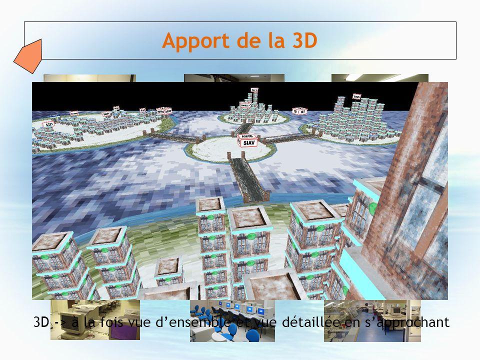 Apport de la 3D 3D -> à la fois vue densemble et vue détaillée en sapprochant