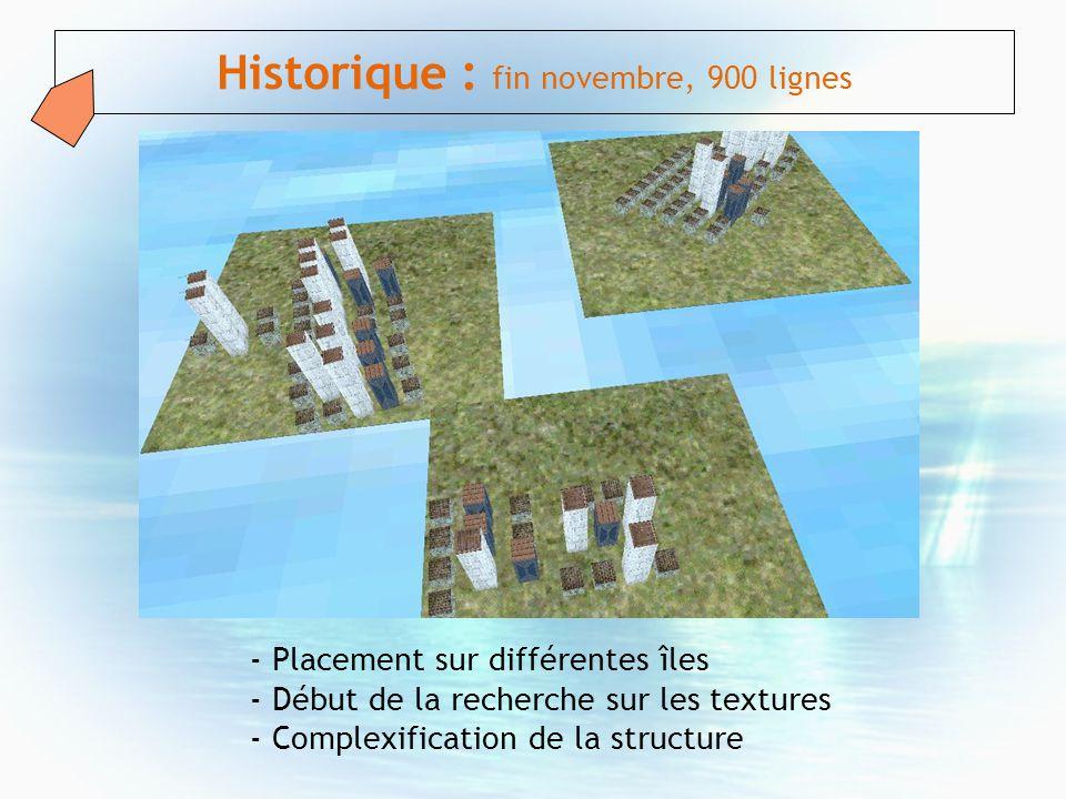 Historique : fin novembre, 900 lignes - Placement sur différentes îles - Début de la recherche sur les textures - Complexification de la structure