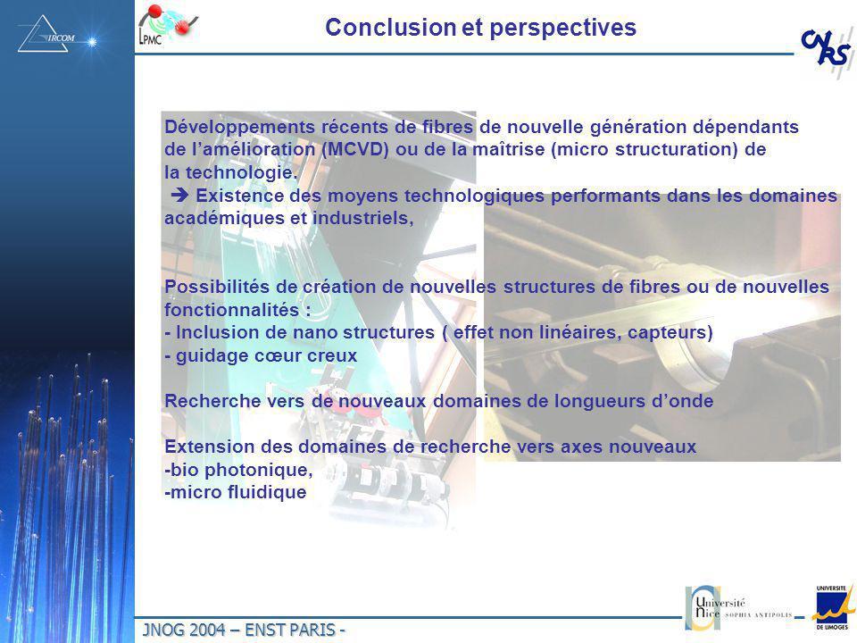 JNOG 2004 – ENST PARIS - Conclusion et perspectives Développements récents de fibres de nouvelle génération dépendants de lamélioration (MCVD) ou de la maîtrise (micro structuration) de la technologie.