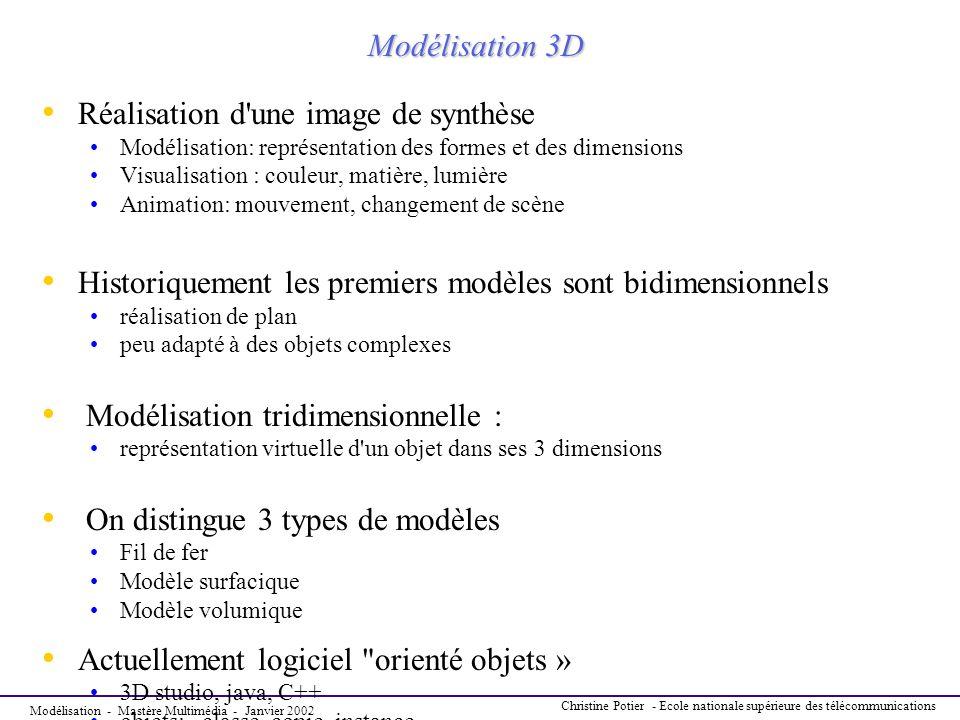 Modélisation - Mastère Multimédia - Janvier 2002 Christine Potier - Ecole nationale supérieure des télécommunications Modélisation 3D Réalisation d'un