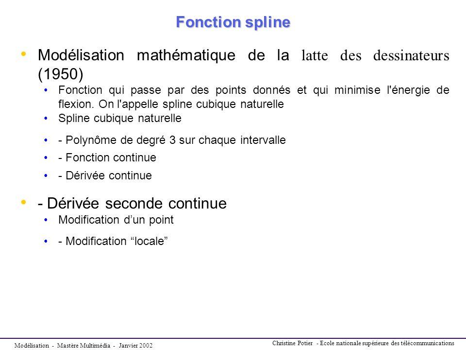Modélisation - Mastère Multimédia - Janvier 2002 Christine Potier - Ecole nationale supérieure des télécommunications Fonction spline Fonction spline