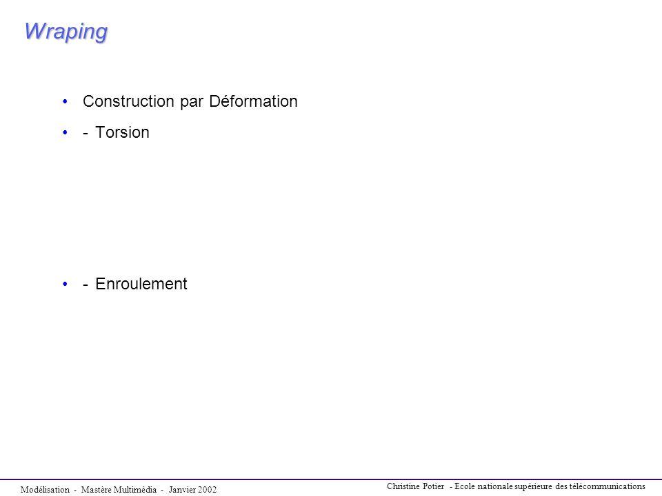 Modélisation - Mastère Multimédia - Janvier 2002 Christine Potier - Ecole nationale supérieure des télécommunications Wraping Construction par Déforma