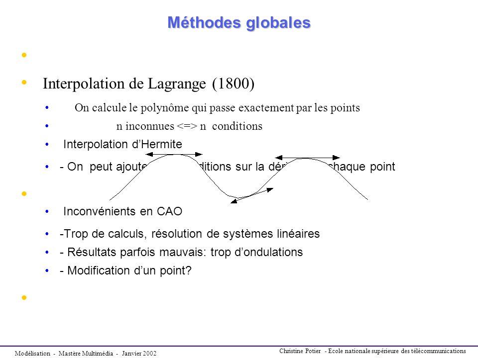 Modélisation - Mastère Multimédia - Janvier 2002 Christine Potier - Ecole nationale supérieure des télécommunications Méthodes globales Méthodes globa
