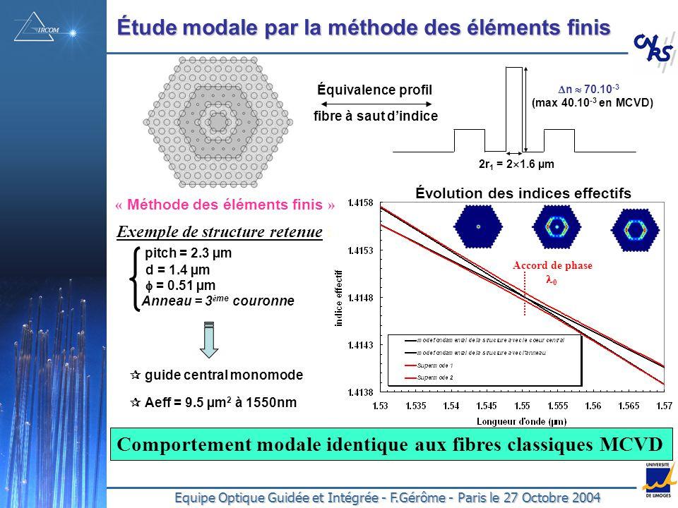 Equipe Optique Guidée et Intégrée - F.Gérôme - Paris le 27 Octobre 2004 Étude modale par la méthode des éléments finis Accord de phase 0 Comportement modale identique aux fibres classiques MCVD Exemple de structure retenue : pitch = 2.3 µm d = 1.4 µm = 0.51 µm Anneau = 3 è me couronne 2r 1 = 2 1.6 µm Aeff = 9.5 µm 2 à 1550nm n 70.10 -3 (max 40.10 -3 en MCVD) « Méthode des éléments finis » Évolution des indices effectifs guide central monomode Équivalence profil fibre à saut dindice