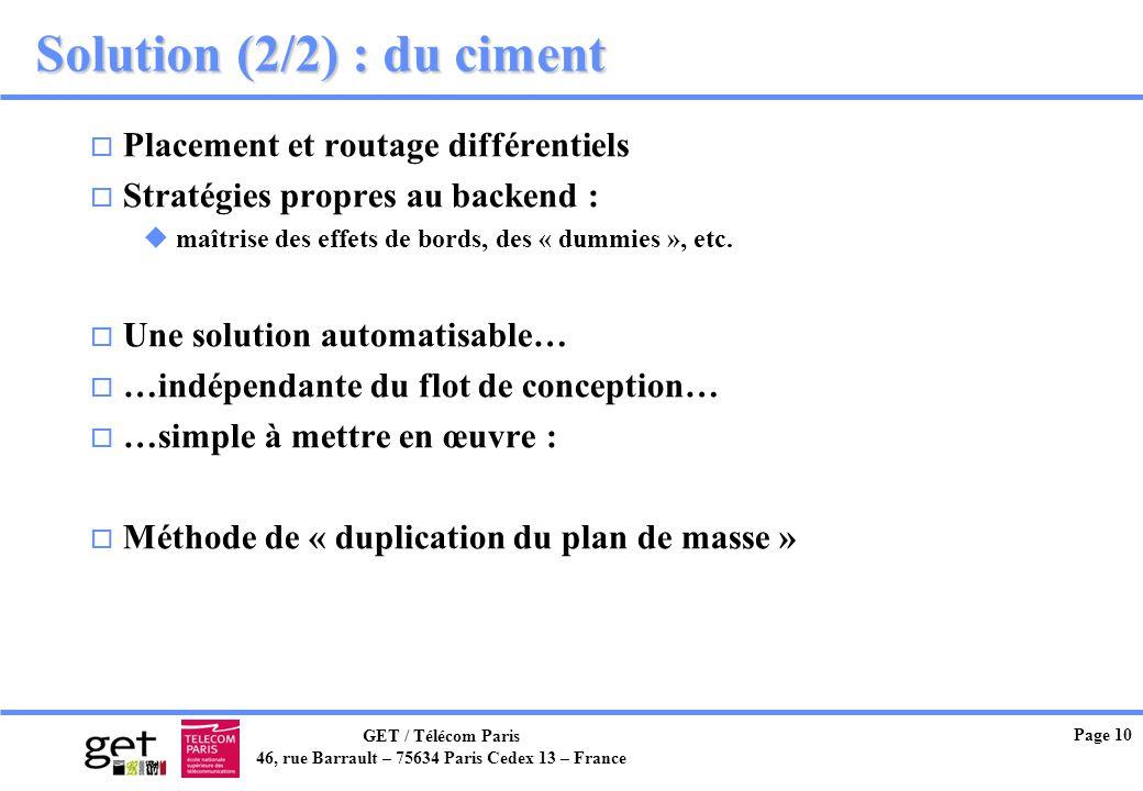 GET / Télécom Paris 46, rue Barrault – 75634 Paris Cedex 13 – France Page 10 Solution (2/2) : du ciment o Placement et routage différentiels o Stratég