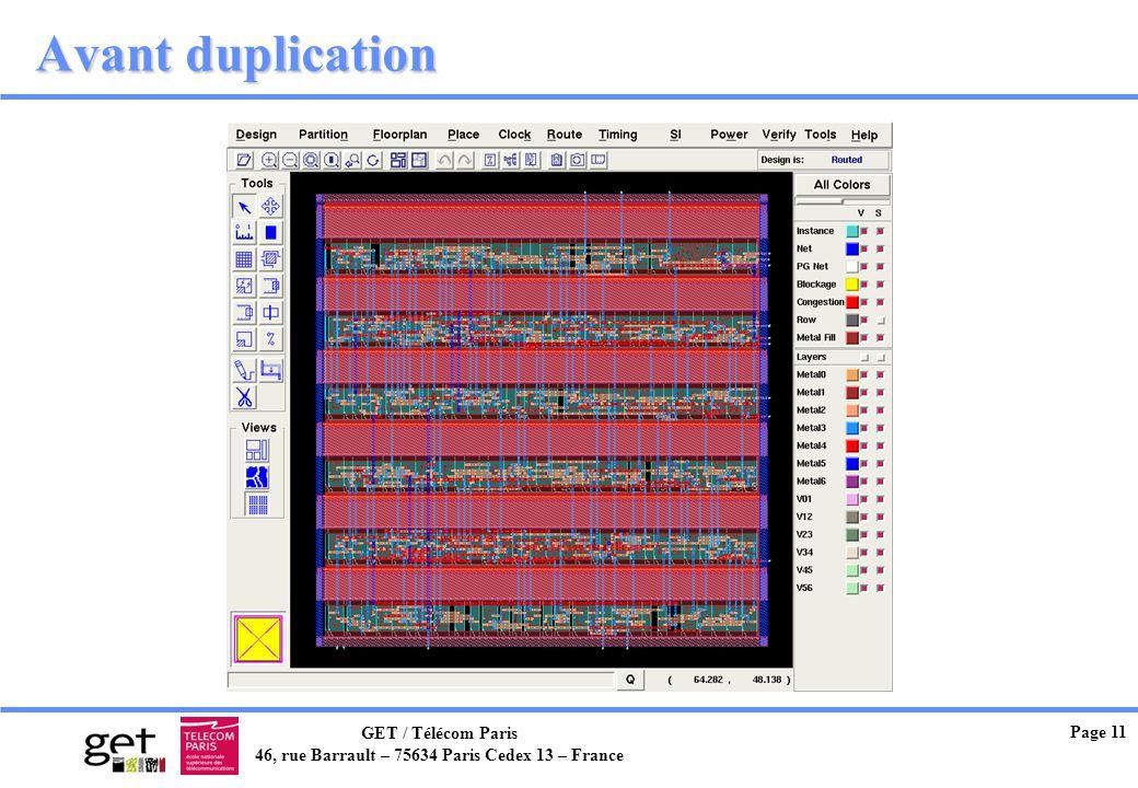 GET / Télécom Paris 46, rue Barrault – 75634 Paris Cedex 13 – France Page 11 Avant duplication