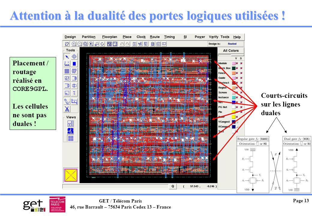 GET / Télécom Paris 46, rue Barrault – 75634 Paris Cedex 13 – France Page 13 Attention à la dualité des portes logiques utilisées ! Placement / routag
