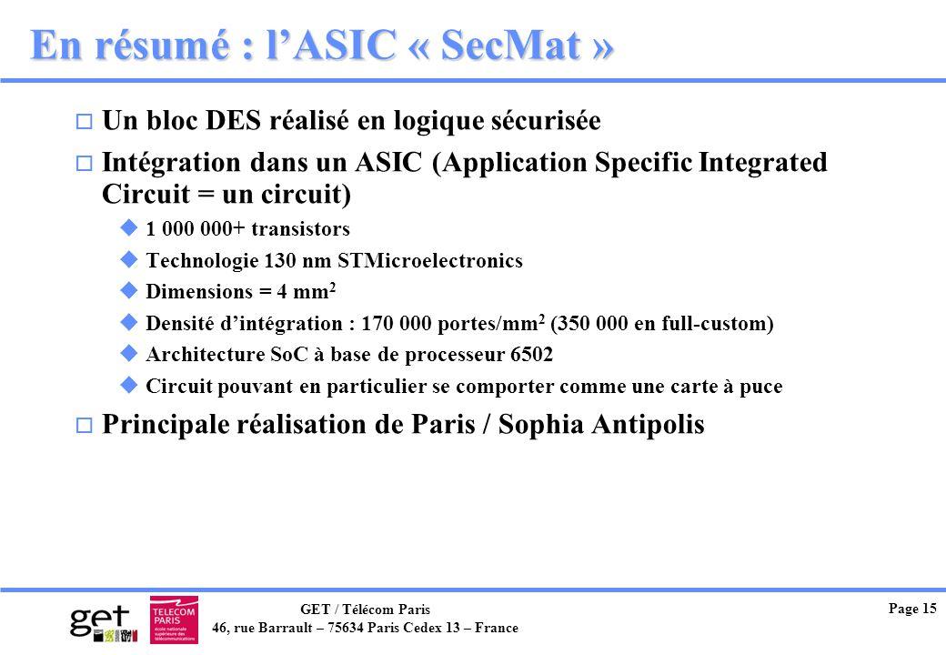 GET / Télécom Paris 46, rue Barrault – 75634 Paris Cedex 13 – France Page 15 En résumé : lASIC « SecMat » o Un bloc DES réalisé en logique sécurisée o