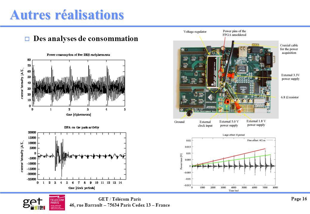 GET / Télécom Paris 46, rue Barrault – 75634 Paris Cedex 13 – France Page 16 Autres réalisations o Des analyses de consommation