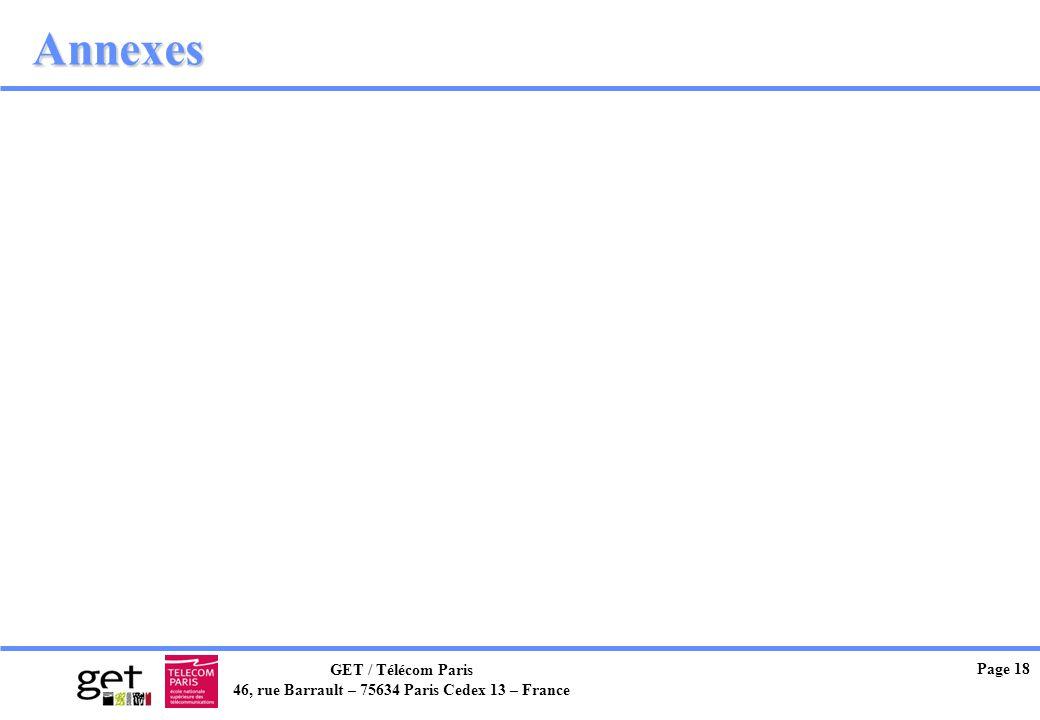 GET / Télécom Paris 46, rue Barrault – 75634 Paris Cedex 13 – France Page 18 Annexes