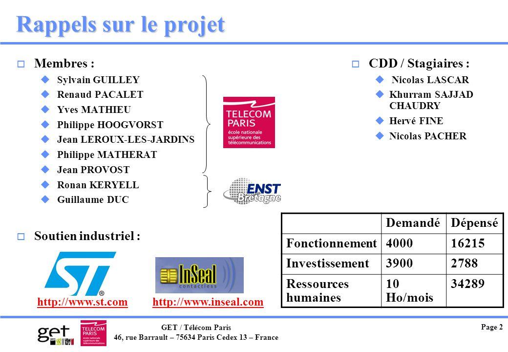 GET / Télécom Paris 46, rue Barrault – 75634 Paris Cedex 13 – France Page 2 Rappels sur le projet o Membres : u Sylvain GUILLEY u Renaud PACALET u Yve