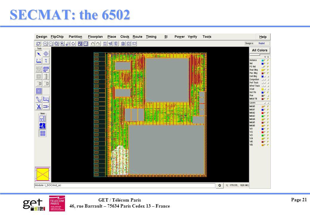 GET / Télécom Paris 46, rue Barrault – 75634 Paris Cedex 13 – France Page 21 SECMAT: the 6502