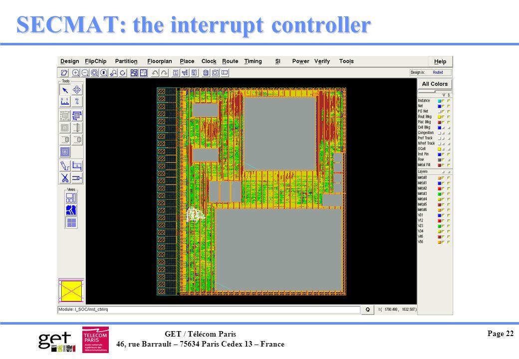 GET / Télécom Paris 46, rue Barrault – 75634 Paris Cedex 13 – France Page 22 SECMAT: the interrupt controller