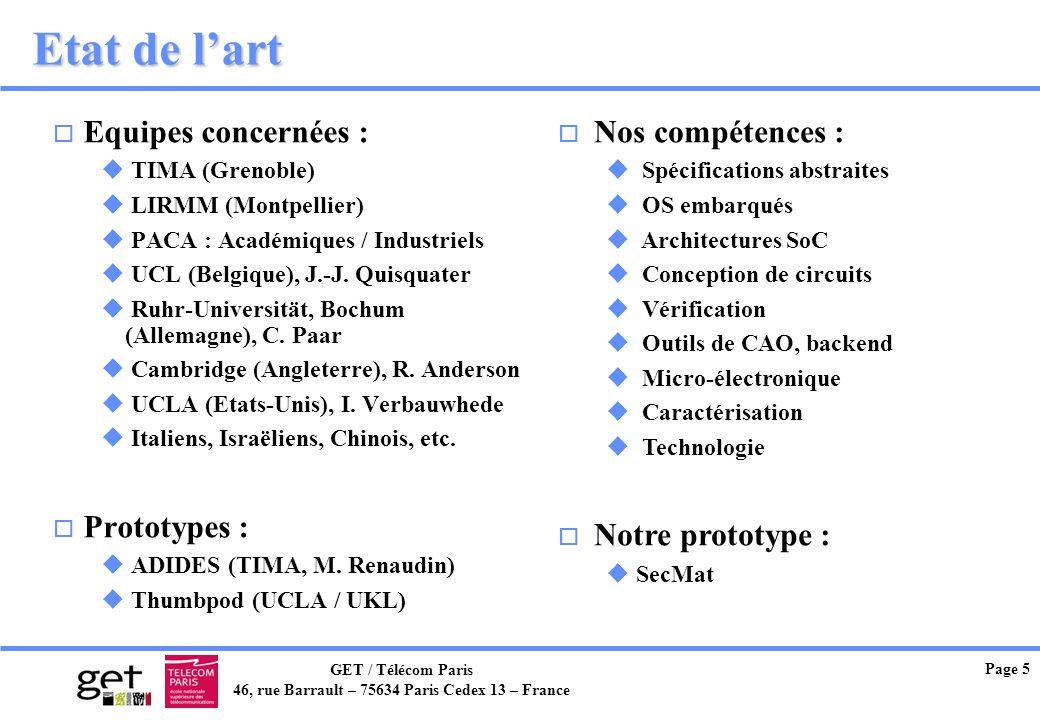 GET / Télécom Paris 46, rue Barrault – 75634 Paris Cedex 13 – France Page 5 Etat de lart o Equipes concernées : u TIMA (Grenoble) u LIRMM (Montpellier