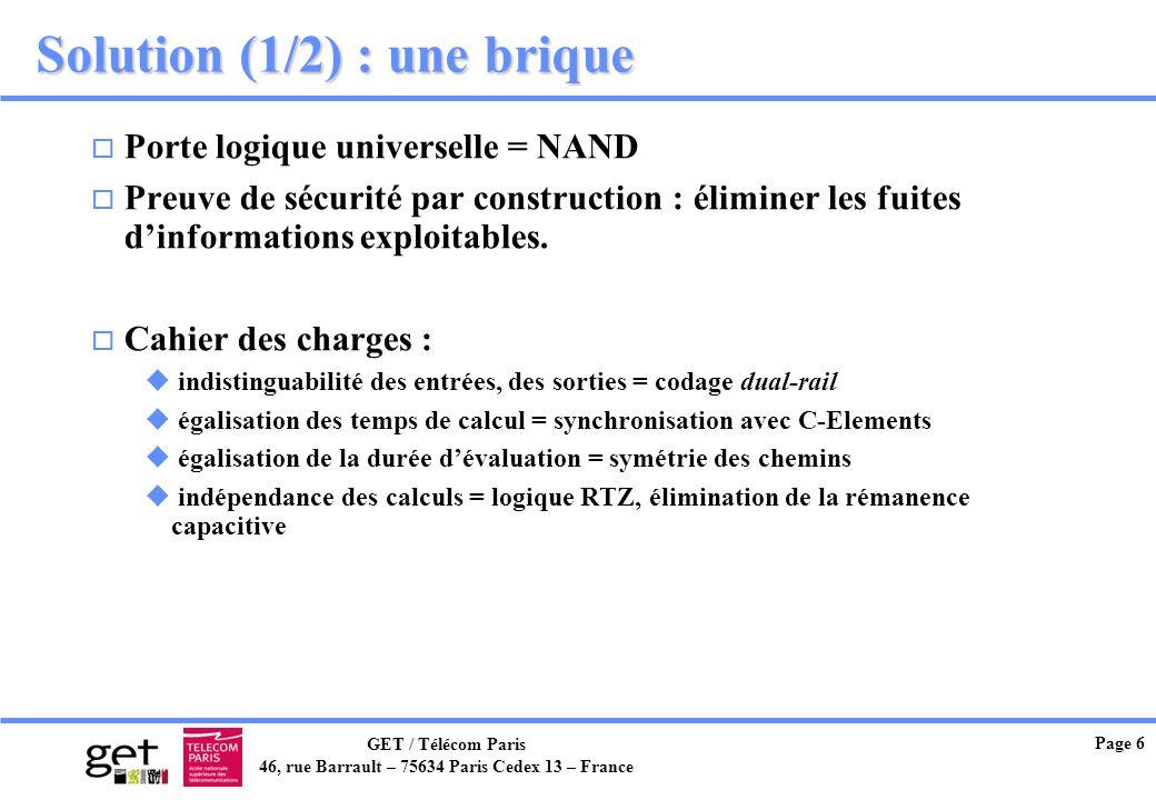 GET / Télécom Paris 46, rue Barrault – 75634 Paris Cedex 13 – France Page 6 Solution (1/2) : une brique o Porte logique universelle = NAND o Preuve de