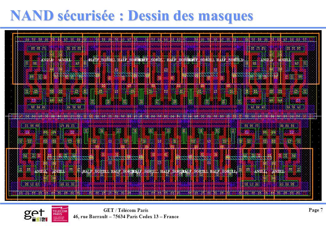 GET / Télécom Paris 46, rue Barrault – 75634 Paris Cedex 13 – France Page 7 NAND sécurisée : Dessin des masques